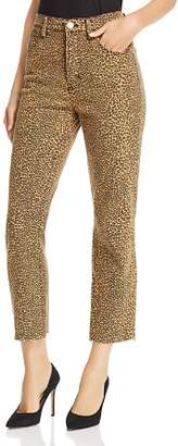 Current/Elliott The Stiletto Raw-Edge Cropped Straight-Leg Jeans in Spotted Leopard