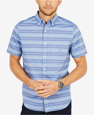 Nautica Men's Casual Striped Classic Fit Short Sleeve Shirt