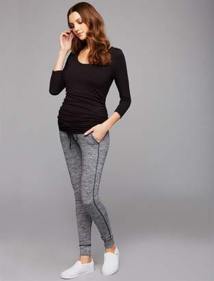 fe7b64ca23329 A Pea in the Pod Under Belly Hacci Knit Smocked Waist Maternity Jogger Pant