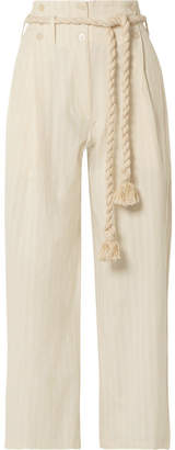 Mes Demoiselles Olympic Striped Cotton-gauze Wide-leg Pants - Ivory