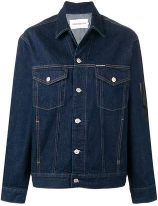 CK Calvin Klein rear print buttoned jacket