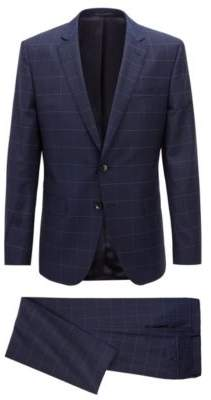 BOSS Hugo Slim-fit suit in plain-check virgin wool 38R Open Blue