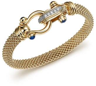 Bloomingdale's 14K Yellow Gold Beaded Mesh Bracelet with Diamond Clasp - 100% Exclusive