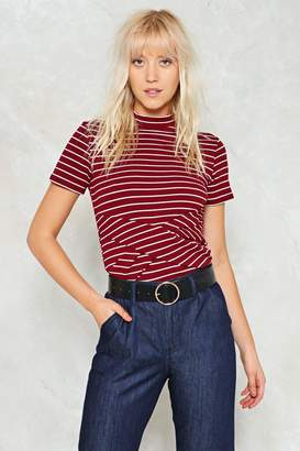 Nasty Gal Knot Even Close Babe Striped Top