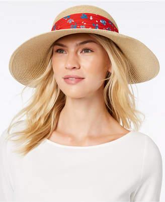 Nine West Packable Bow Scarf Floppy Sun Hat