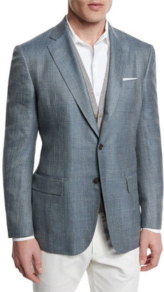 Loro Piana Plaid Wool/Silk Two-Button Sport Coat, Light Blue $2,595 thestylecure.com