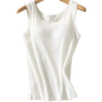 812451b9094af Zylioo Womens Cotton Built-in-Bra Camisole Padded Cap Sleeve Tanks Tops