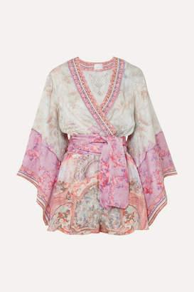 Camilla Embellished Printed Silk Crepe De Chine Playsuit - Pink