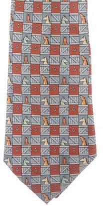 Hermes Horse Print Silk Tie
