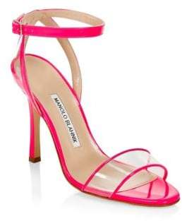 Manolo Blahnik Dandolo Leather & PVC Heeled Sandals