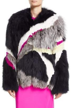 Cushnie et Ochs Mixed-Fur Mid-Length Coat