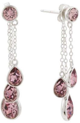 Sterling Silver Swarovski Antique Pink Teardrop Earrings