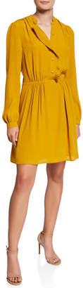 Equipment Davignon Button-Front Long-Sleeve Dress