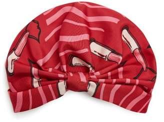 Valentino Lipstick Print Silk Faille Turban Hat - Womens - Red