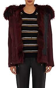 Mr & Mrs Italy Women's Canvas Fur-Trimmed Mini-Parka-Chateaux Bordeaux