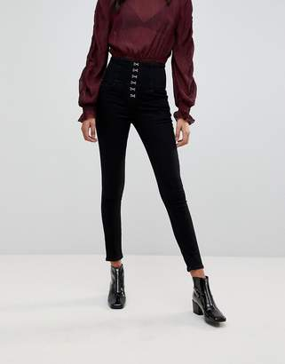 New Look Hook And Eye Lace Up Jeans
