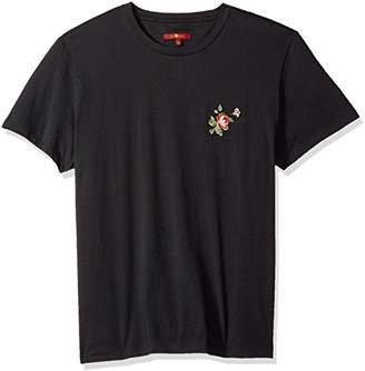 7 For All Mankind Men's Short Sleeve La Embroidered Floral Tee Shirt