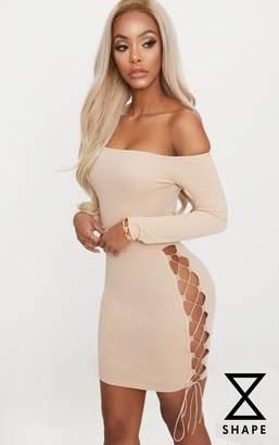 PrettyLittleThing Shape Black Lace Up Detail Bardot Bodycon Dress