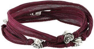 King Baby Studio - Multi Wrap Cherry Silk Bracelet with Roses Bracelet $280 thestylecure.com