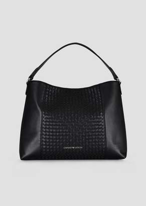 Emporio Armani Leather Hobo Bag With Woven Central Part And Internal Clutch
