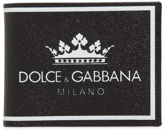 Dolce & Gabbana Crown Dauphine Leather Coin Wallet