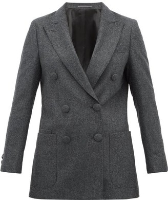Officine Generale Manon Double Breasted Wool Blazer - Womens - Grey