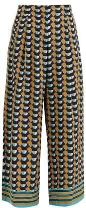 Etro Shambala Circle Print Silk Culottes - Womens - Yellow Multi