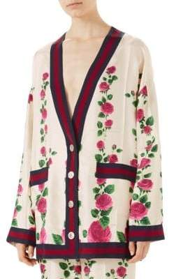 Gucci Silk Twill Floral Oversized Cardigan