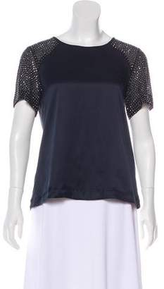 Rebecca Taylor Embellished Short Sleeve Top