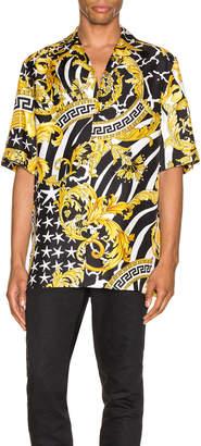 Versace Print Shirt in Black & Gold   FWRD