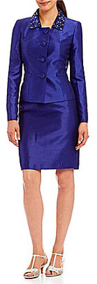 Albert Nipon Beaded-Collar 2-Piece Skirt Suit $395 thestylecure.com