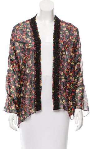 Anna SuiAnna Sui Silk Floral Print Cardigan w/ Tags