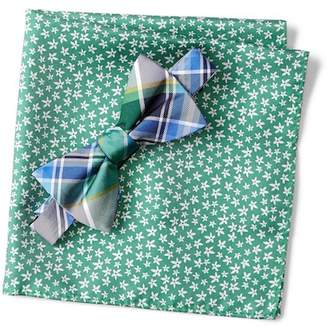Tommy Hilfiger Silk Plaid Bow Tie & Flower Print Pocket Square Set