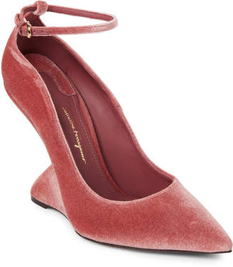 Salvatore Ferragamo Pink Tivoli Velvet Sculpted-Heel Pumps