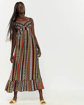 T Tahari Sleeveless Printed Maxi Dress