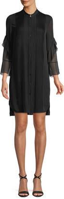 Elie Tahari Sawyer Ruffled Silk Shirt Dress