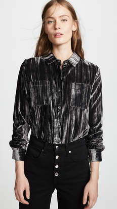 Splendid Moonstone Velvet Button Down Shirt