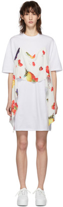 MSGM SSENSE Exclusive White Fruit Scarf T-Shirt Dress