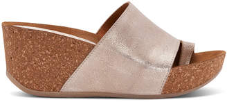 Donald J Pliner GINIE, Tumbled Metallic Brush Off Leather Wedge Sandal