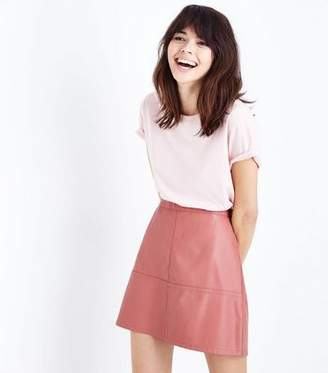 New Look Coral Leather-Look Mini Skirt