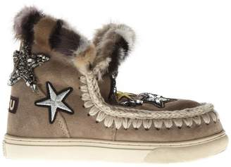 Mou Color Sand Mink Fur And Patches Stars Sneaker Boots