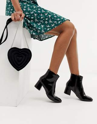 Oasis heeled ankle boots in black patent