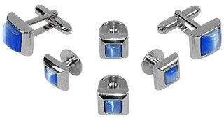 Forzieri Studs - Blue Elegant Silver Plated Cuff Links