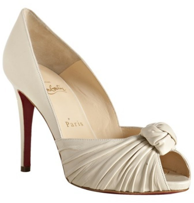 Christian Louboutin ivory leather peep toe 'Gres's 100' pumps