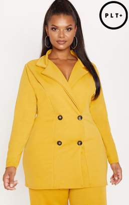 PrettyLittleThing Plus Mustard Tortoise Button Oversized Double Breasted Blazer
