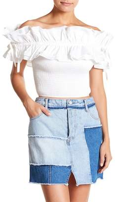 KENDALL + KYLIE Kendall & Kylie Short Sleeve Smocked Back Blouse