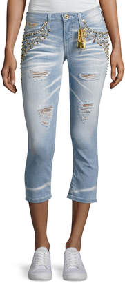Robin's Jeans Marilyn Studded Destroyed Capri Jeans, Light Blue