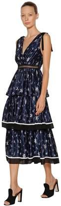 Self-Portrait Printed Star Satin Midi Dress