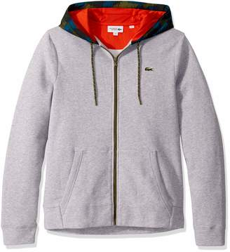 Lacoste Men's Sport Long Sleeve Full Zip Fleece Sweatshirt W/CAMO Hood
