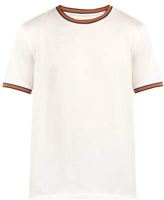 Paul Smith Artist Striped Trim Cotton T Shirt - Mens - White